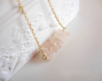 Raw Rose Quartz Necklace // 14K gold vermeil delicate chain // Raw pink quartz crystal necklace // Gift for her // Layering necklace