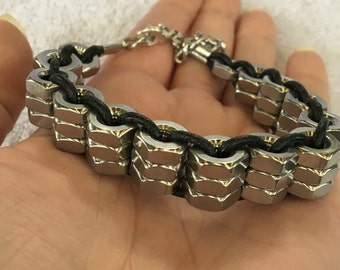 Handmade Men's Stainless stainless steel Hex Nut Bicycle Bike chain style Leather Bracelet Jewelry