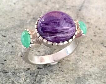 Chrysoprase Ring, Natural Chrysoprase, Charoite Ring, Charoite, Purple Ring, Purple Stone, Vintage Ring, Purple Stone Ring, Solid Silver