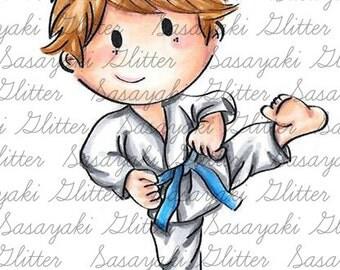 Karate Shy Sasayaki Glitter Digital Stamps, Black and White Only