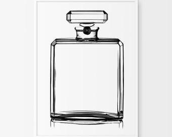 Coco Chanel Perfume Print, N5 Fashion Art, French Decor, Vanity Decor, French Wall Art, Perfume Poster, Drawing Coco Chanel Perfume Bottle