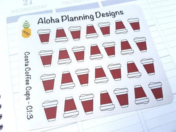 c1 3 costa coffee cup stickers large from alohaplanningdesigns on etsy studio. Black Bedroom Furniture Sets. Home Design Ideas