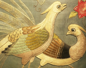 Antique embroidered birds stumpwork 19th century Large Padded Satin Stitch Embroidery framed oriental Japanese