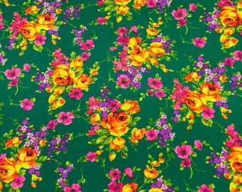 Vintage Floral Fabric. 1/2 yd. Vintage Rose Fabric. Dark Green Vintage Fabric. Yellow Rose Fabric. Bright Pink Floral Fabric. Bright Flowers