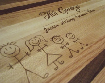 "Personalized Custom Butcher Block Cutting Board.  Stick  Family Design.  1 1/4"" thick.  11""x17"".  Multiple wood species."