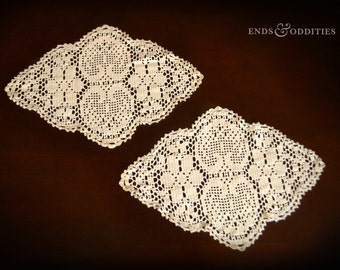 Set of 2 Vintage Hand Crocheted Doilies