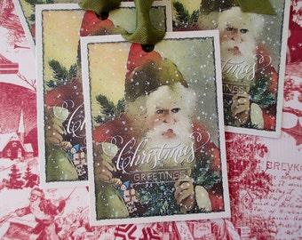 Christmas Tags-Vintage Santa-Set of 6