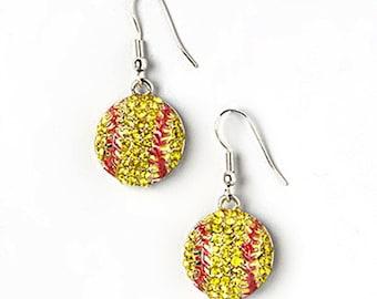 Softball Earrings, Softball, Softball Gear, Cute Softball Jewelry, Softball Jewelry, Softball Necklace, Softball Bling
