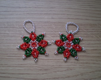 Set of 2 Beaded Stars - Red & Green