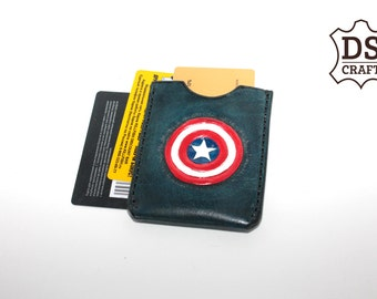 Free Shipping Leather Small Money Wallet or Credit Card Holder CAPTAIN AMERICA