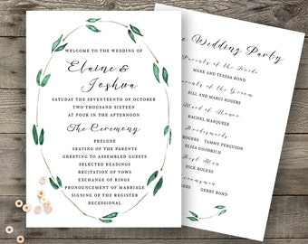 Emerald Green Silver Calligraphy Wedding Program Modern Event Program Printed or Printable Wedding Order of Service