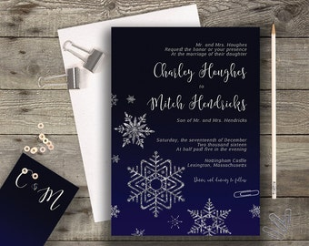 Midnight Blue Navy Snowflake Chalkboard Calligraphy Wedding Invitation A7 Invitation Printable Invitation Printed Winter / Fall Wedding