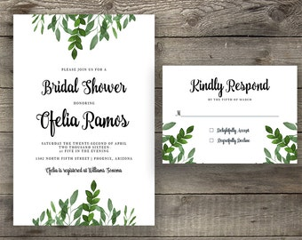 Printable or Printed Emerald Green Silver Calligraphy Bridal Shower Invitation Modern Calligraphy Bridal Party Invitation with Reply Card