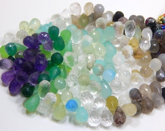 Multi Gemstone Faceted Teardrop Beads Drop Shape 100% Natural Gemstone Size 14.5x10 to 5.4  mm Approx Code - 0401