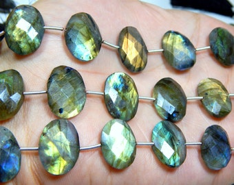 Labradorite Gemstone Faceted Oval Beads Size 11x12 to 14x17.mm Approx 1 string - 14.pcs  Code - 0486