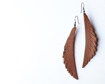 Feather Leather Brown Earrings