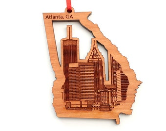 Atlanta Georgia Christmas Ornament - Detailed City Skyline in Georgia State Shape Cutout