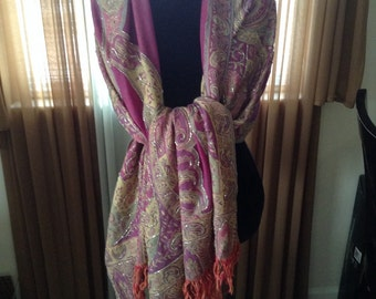 Sale Vintage Long Shawl / Scarf / or Wrap with Bugle Beads