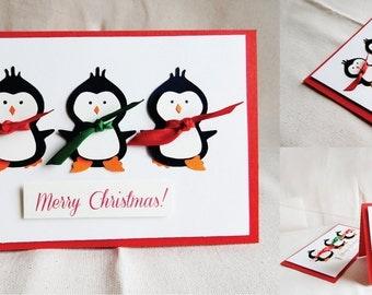 Christmas handmade card - Sweet penguins.