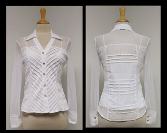 New Sheer Delight Net and pin tuck Artsy White Designer Blouse.S,M,L.