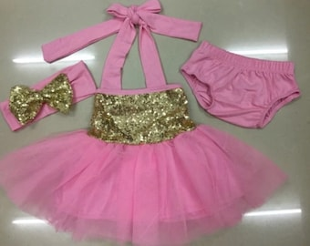 First birthday outfit, pink and gold baby girl outfit, pink and gold baby girl dress, special occasion dress, flower girl dress, 2nd bday