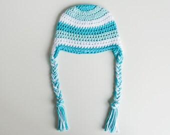 3-6 Mos.  Blue, Aqua & White Baby Girl or Boy Earflap Hat