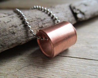 NECKLACE Copper tube tube to STAINLESS STEEL color silver finished ball chain of 80 cm long