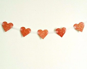 Glitter heart garland on ribbon - available in several colours