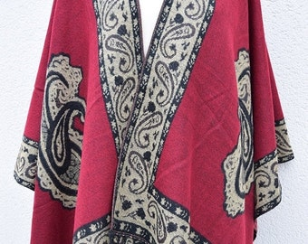 Shawl Winter Trend Wrap Woman Christmas Gift Vintage Fashion Wide Wrap Stole Thick Poncho Shawl Fringes Outwear Red Ladies Fashion