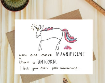 Unicorn card - Funny Dad cards- Unicorn gift -Card for best friend - Unicorn poop card - Card for friend - Poop card - Mother's day unicorn