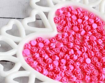 Hot Pink Rose Beads 9mm Resin Rose Beads Dark Pink Rose Beads 1mm Hole Pre Drilled Rose Beads