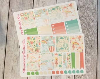 Hot Air Balloons Themed Planner Stickers -- Made to fit Vertical Layout