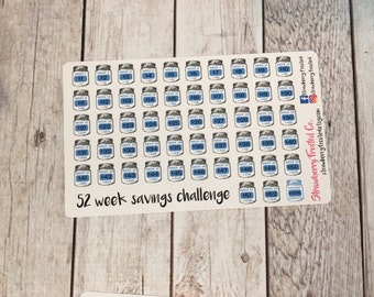 52 Week Savings Challenge Planner Stickers- Made to fit either Vertical or Horizontal Layout