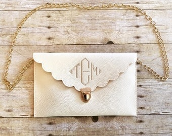 Monogrammed Scalloped Clutch