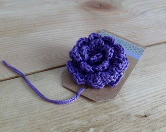 Purple flower brooch - Crochet flower brooch - Crochet pin - Flower Pin