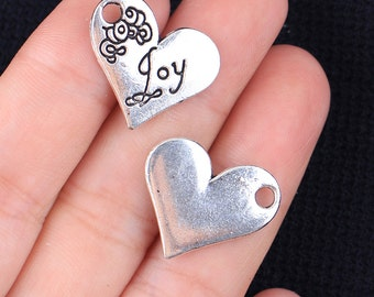 4 Joy Engraved Heart Charms, Antique Silver Tone (1H-163)