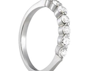 Shared Prong Wedding Band, Single Prong Diamond Wedding Band,Shared Prong Wedding RIng, Single Prong Diamond Wedding Ring,