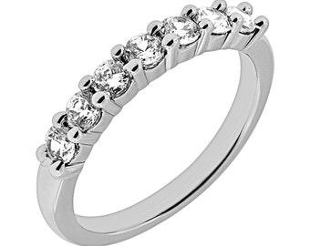 7 Stone Diamond Ring, 7 Stone Diamond Wedding Band, 7 Stone Wedding Ring, 7 Stone Diamond Wedding Band 14k White gold.