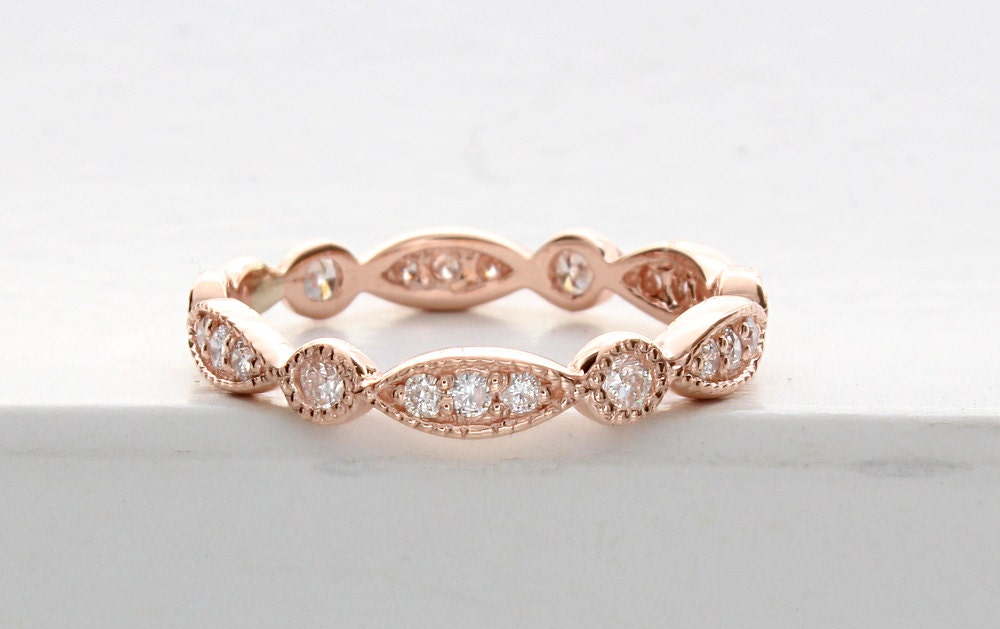 rose gold art deco wedding band rose gold vintage wedding