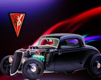 Hot Rod 1934, Metal Prints, Classic Car Art, Car Prints, Car Art, Home and Living, Wall Art, Photography, Prints, Gifts for Him, Home Décor