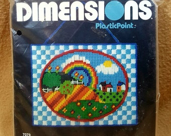 1983 Dimensions Rainbow Hillside Plaque Plasticpoint Plastic Canvas Needlepoint