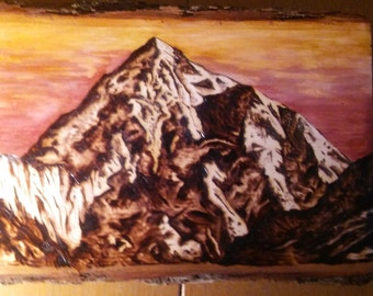 K2 Mountain Pyrography and stain painting
