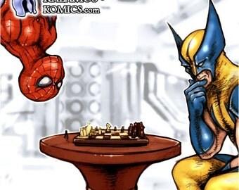 Spiderman VS Wolverine Print