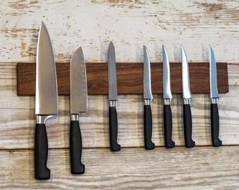"""18"""" Magnetic Knife Rack / Key Holder - Solid Walnut Wood"""