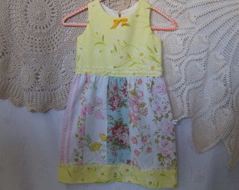 Girl's 5T Dress, Upcycled 5T Dress, Vintage Dress 5T, Yellow Floral 5T Dress