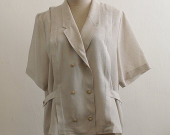 Vintage minimalism woven double breast blouse