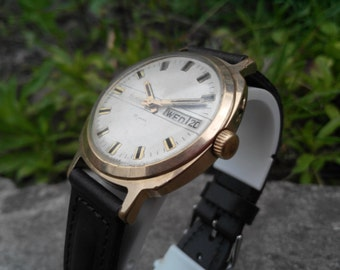 SLAVA Au10 Vintage Men's Wrist Watches Mechanical watch, Soviet Gold plated watch Slava-26 jewels,Working watch, leather strap new