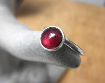 Garnet Stacking Ring, Sterling Silver Ring, January Birthstone, Garnet Solitaire Ring