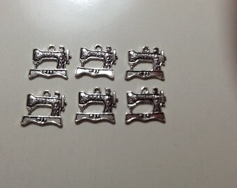 Vintage style singer sewing machine silver charm