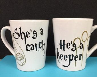 Harry Potter inspired Quidditch Catch & Keeper mug set - great for weddings, anniversaries, birthdays